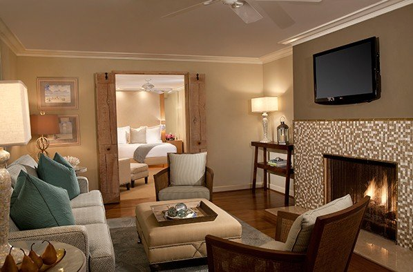 So. Cal hotel living area looking into guest room through double doors - Surf and Sand