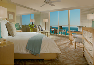 Laguna Beach ocean view room with king guest bed and spacious sitting area