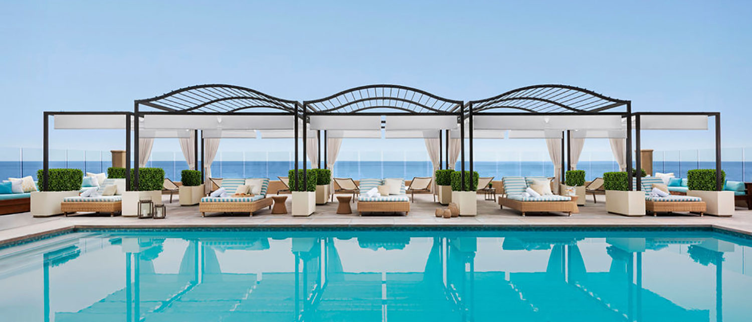 Surf and Sand Cabanas by the pool with shade and ocean views