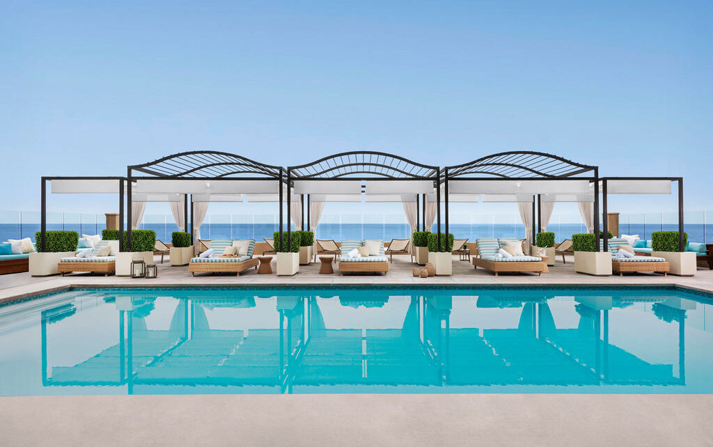 Pool beside the ocean with beautiful pagodas at our luxury hotel in Southern California
